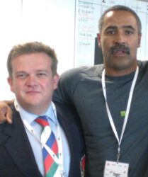 Compere duties with Daley Thompson at Canary Wharf for the Woodenspoon Charity Day