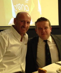 "Compere duties with Welsh rugby international Gareth ""Alfie"" Thomas at Llantrisant RFC Annual Dinner"