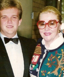 Oscar-winning actress Joan Fontaine following my solo performance at Hartnell College, Salinas, California.